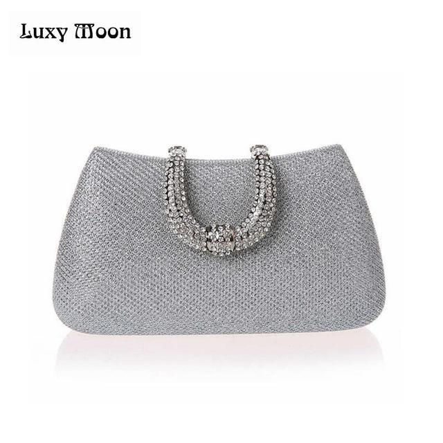 Women's Crystal U Diamond Clutch Glitter Bag