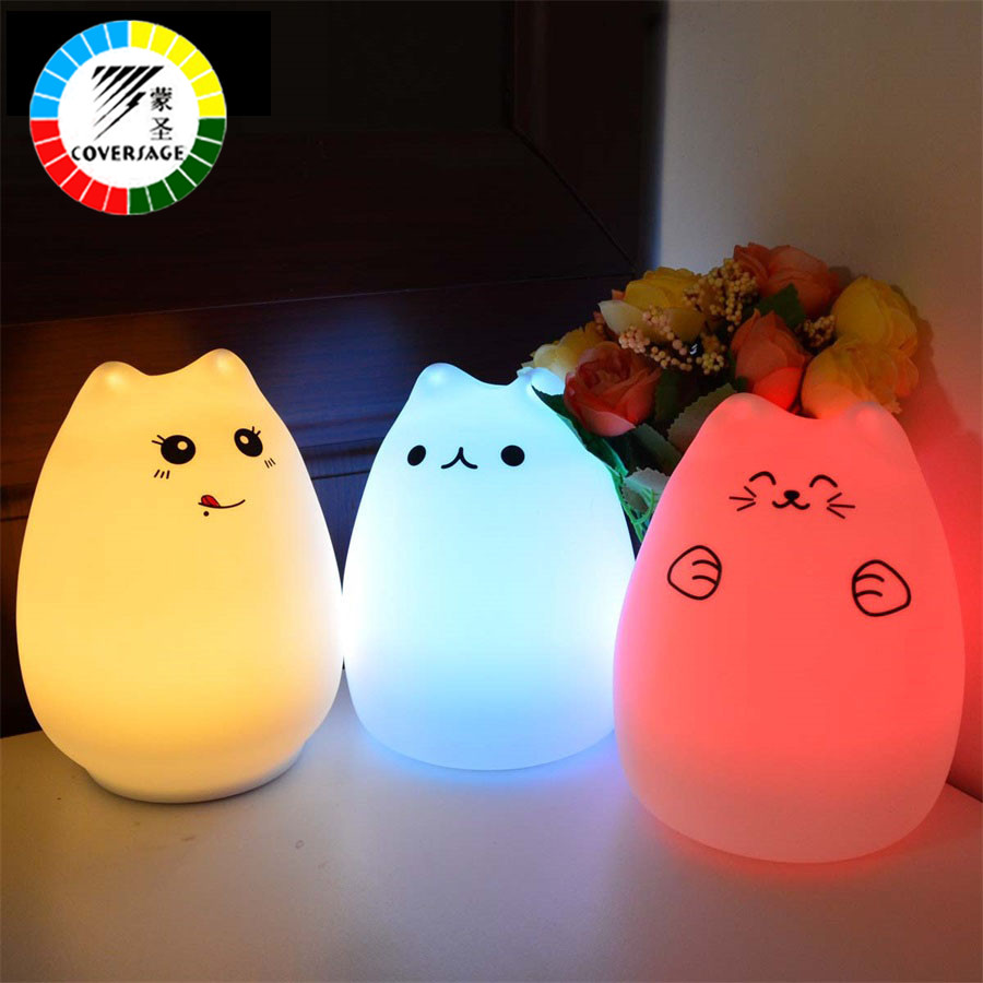Coversage Colorful Motion Sensor Led Cat Children Animal Night Light Soft Cartoon Baby Kids Bedroom USB Table Reading Lamp