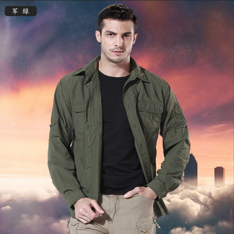 Men Camping jacket outdoor quick dry Breathable tactical shirts male anti-uv camouflage shirts long sleeve dual-use thin shirt