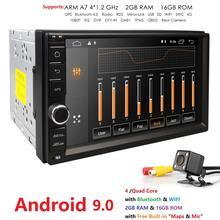 Quad Core Android 9.0 2G RAM 16G ROM Supporto 4G Rete WIFI GPS Per Auto 2 din Universale auto No DVD Radio player 1080 P DVR DAB + TPMS