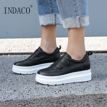 2019 Leather White Sneakers Women Flat Casual Platform Sneakers Women Canvas Shoes 6.5cm