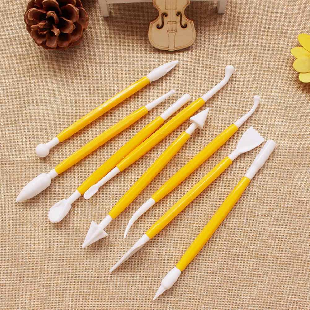 البلاستيك فندان الكعك النحت أدوات انفصال النحت صنع مجموعة أدوات القطع الخبز أدوات الديكور 8 قطعة الأصفر
