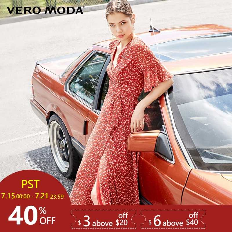 Vero Moda/2019 летнее в горошек платье с оборками и рукавами на шнуровке   31926Z534