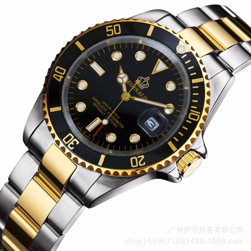 1fc944dd666 Reginald Marca de luxo Assista Homens GMT Data Safira Bezel Rotativo ouro  azul dial relógio de