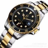 Reginald Merek mewah Perhiasan Pria Rotatable Bezel GMT Tanggal Safir emas Stainless Steel Sport biru dial Quartz Perhiasan Reloj Hombre