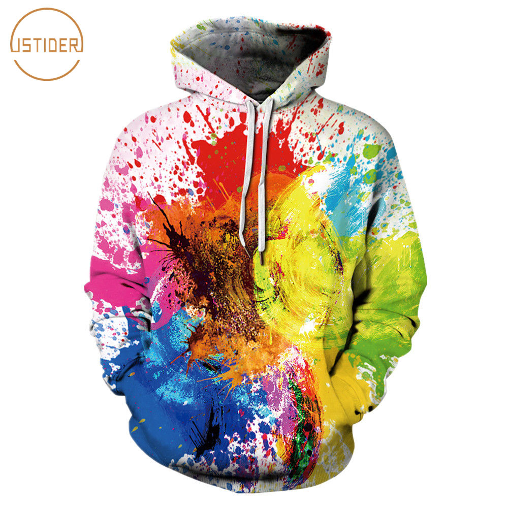 ISTider 3D Printed Colorful Paint Graffiti Fashion Hoodies Sweatshirts MenWomen Long Sleeve Tracksuits Couples Hoody Streetwear