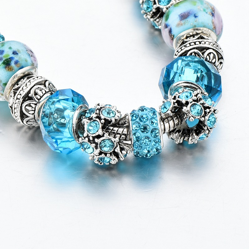 ATTRACTTO New Blue Crystal Beads Charm Bracelets&Bangles Silver Bracelets For Women Femme Wedding DIY Jewelry Bracelet SBR170025