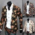 2016 del otoño del resorte versión coreana chaqueta de hombre Slim Fit dimensionales sastrería moda salvaje flores hombres de juegos ocasionales de la capa