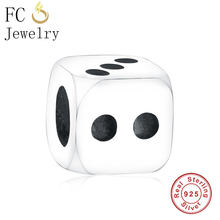 FC Jewelry Fit Original Pandora Charms Bracelets 925 Sterling Silver Square Cube Dice Beads Pendant Boy Girl Kids Child Berloque(China)