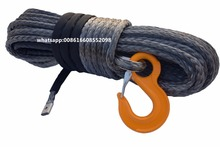 "Grey 12mm*45m ATV Winch Rope,1/2"" Synthetic Winch Cable Rope,Plasma Winch Rope for Offroad"