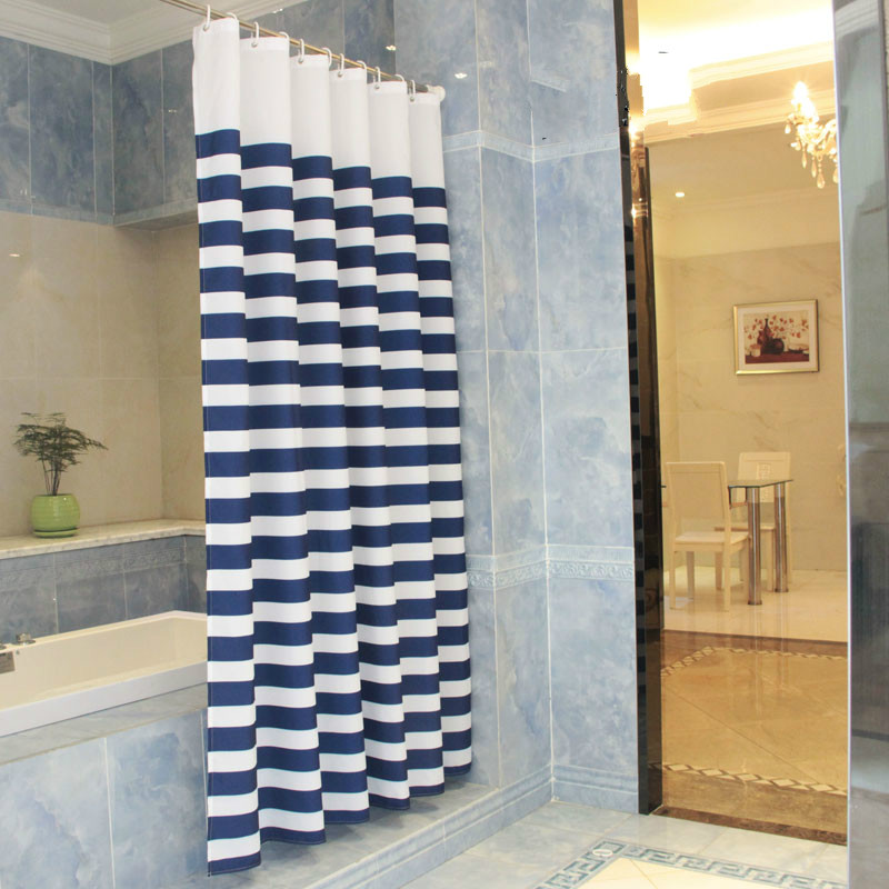 ZHH Modern Style Navy European Classic Blue And White Waterproof Mildew Bathroom Curtain Navy