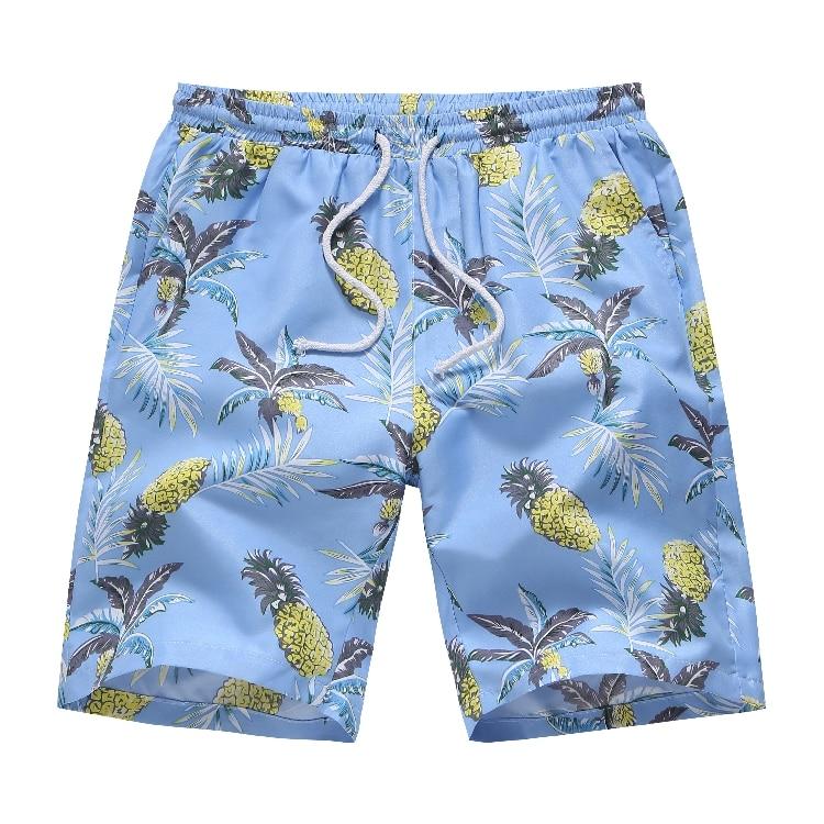 Varsanol Men's Shorts New 2019 Hawaiian Print Shorts For Men Summer Solid Breathable Elastic Waist Casual Man Shorts Male