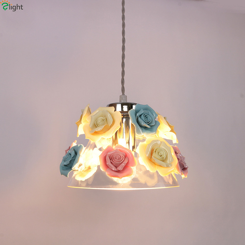 Modern Glass Led Pendant Lights Ceramic Flowers Dining Room Led Pendant Light Bedroom Led Pendant Lamp Hanging Light Fixtures hghomeart children room iron aircraft pendant light led 110v 220v e14 led lamp boy pendant lights for dining room modern hanging