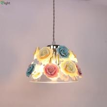 hot deal buy modern glass led pendant lights ceramic flowers dining room led pendant light bedroom led pendant lamp hanging light fixtures