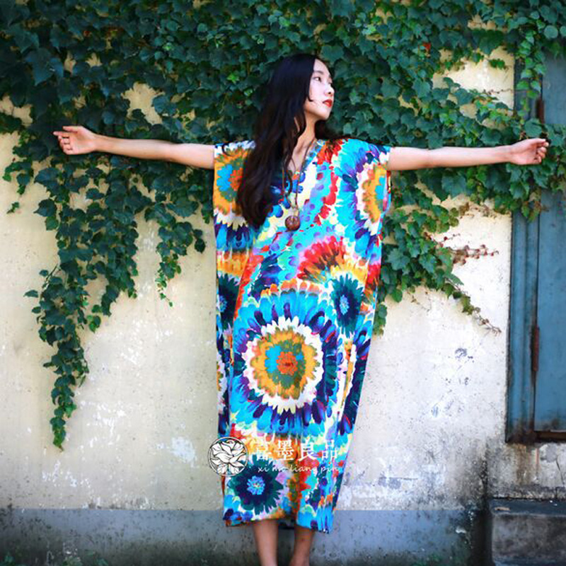 Women Summer Dress 2017 New Fashion Women Dress Cotton Linen Plus Size Long Designer Loose Oversized Print Vintage Maxi Dress