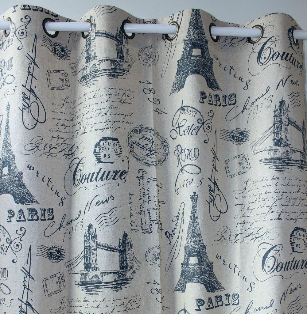VEZO HOME navy eiffel tower linen cotton window curtains panel door ...