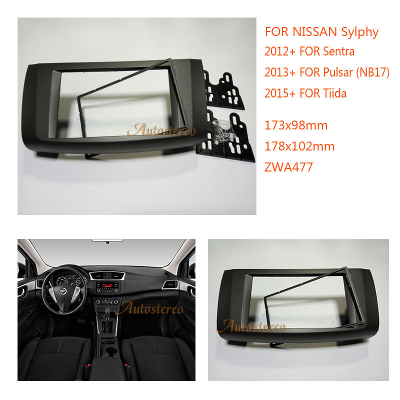 Car DVD/CD Radio Stereo Fascia Panel Frame Adaptor Fitting Kit for NISSAN Sylphy, Sentra 2012+; Pulsar (NB17) 2013+; Tiida 2015+ fog light lamps kit for nissan bluebird sylphy sentra 2013 2015
