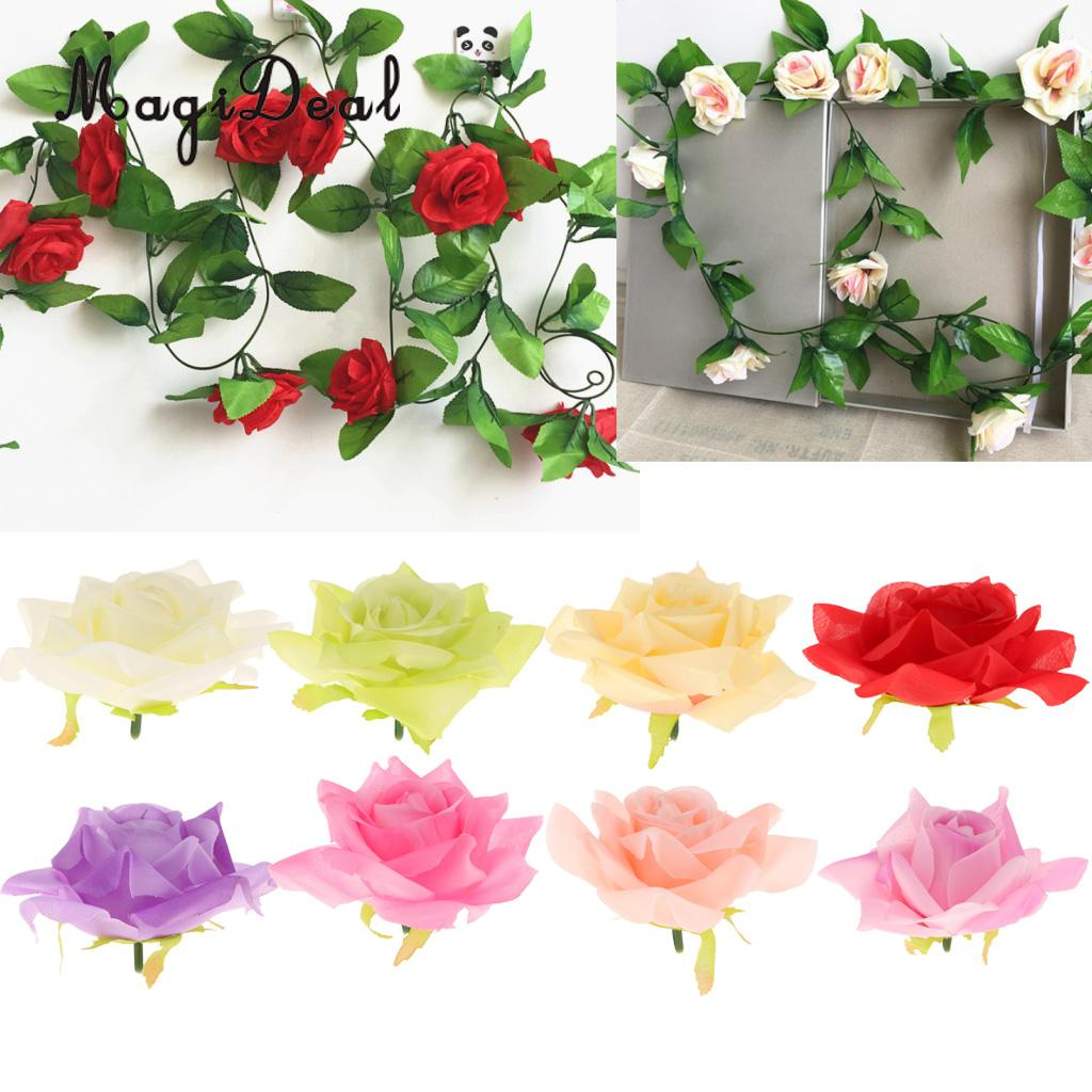 10pcs Silk Simulation Artificial Roses Flower Head Fake Flowers For