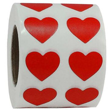 2heart shape Color Coding Dot Labels 500 Adhesive red Stickers peel and stick stationary sticker self-adhesive label