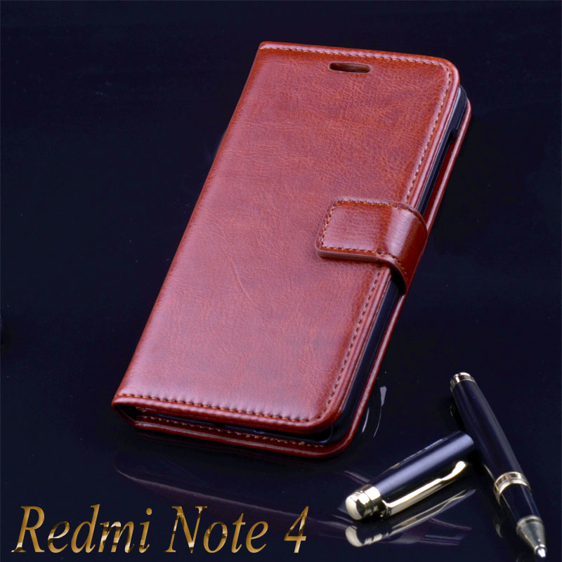 xiaomi redmi note 4 case cover basiness Luxury flip leather case for xiaomi redmi note 4 5.5 Crazy horse wallet Phone Bags Cases