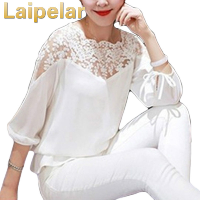 2018 Spring Summer Blouse Women Lace Floral Patchwork Blouse Chiffon Long Sleeve Shirts Hollow Out Casual Tops White Pullovers in Blouses amp Shirts from Women 39 s Clothing