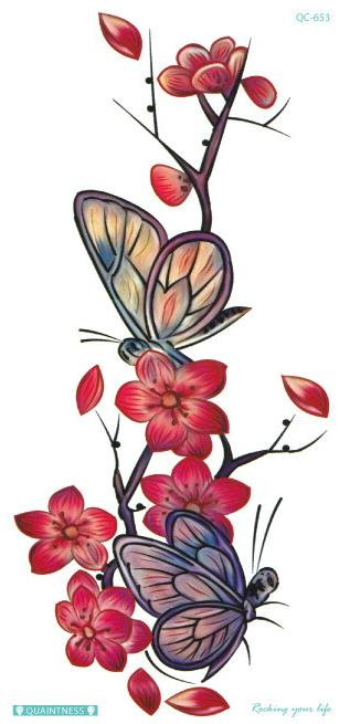Temporary Tattoo Sticker Waterproof Flower Butterfly Fake Tatoo Tatouage Flash Tatto Hand Foot Arm Art For Women Girl Female in Temporary Tattoos from Beauty Health