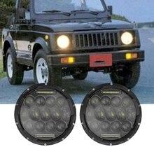 """Для Jeep JK TJ Suzuki Samurai SJ410 75 Вт """" 7 дюймов светодиодный фары Hi/Lo луч DRL налобный фонарь для Lada 4x4 Hummer Land Rover Defender"""