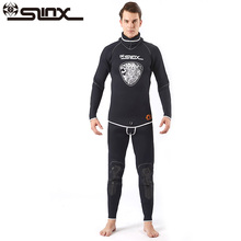 Фотография LINX 5MM Men Two-piece Diving Suit Wetsuit Pro Full Body Long Sleeve Wetsuit Winter Warmth Divingde With Hood Headgear