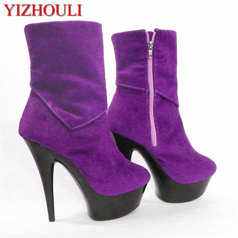 Le nouveau sexy daim 15 cm sexy fond noir talons ultra hauts avec des bottes mi-hautes, chaussures de danse banquet