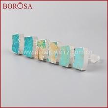 BOROSA Druzy Jewelry Sterling Pure Silver Earrings Curvy Shape Natural Blue Stone Druzy Stud Earring Female SS037