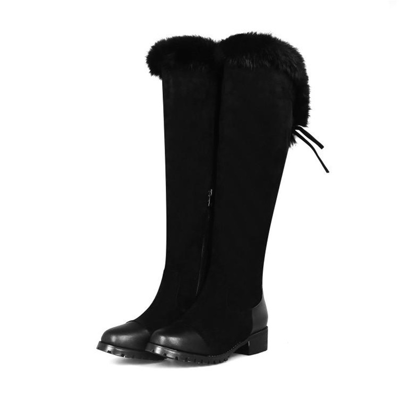 Women\`s Thigh High Boots Autumn Winter Slim Long Tube Over the Knee Boot Big Size 33-43 Female Snow Boots Black Brown Lady Shoe (12)