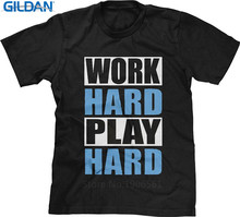 Cheap T Shirts  Funny Work Hard Play Crew Neck Short-Sleeve Mens Shirt
