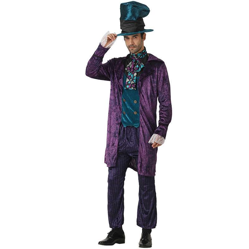 Eraspooky Алиса в стране чудес костюм Mad Hatter косплей мужчины Хэллоуин костюм для Adluts карнавал вечерние рождественское праздничное платье