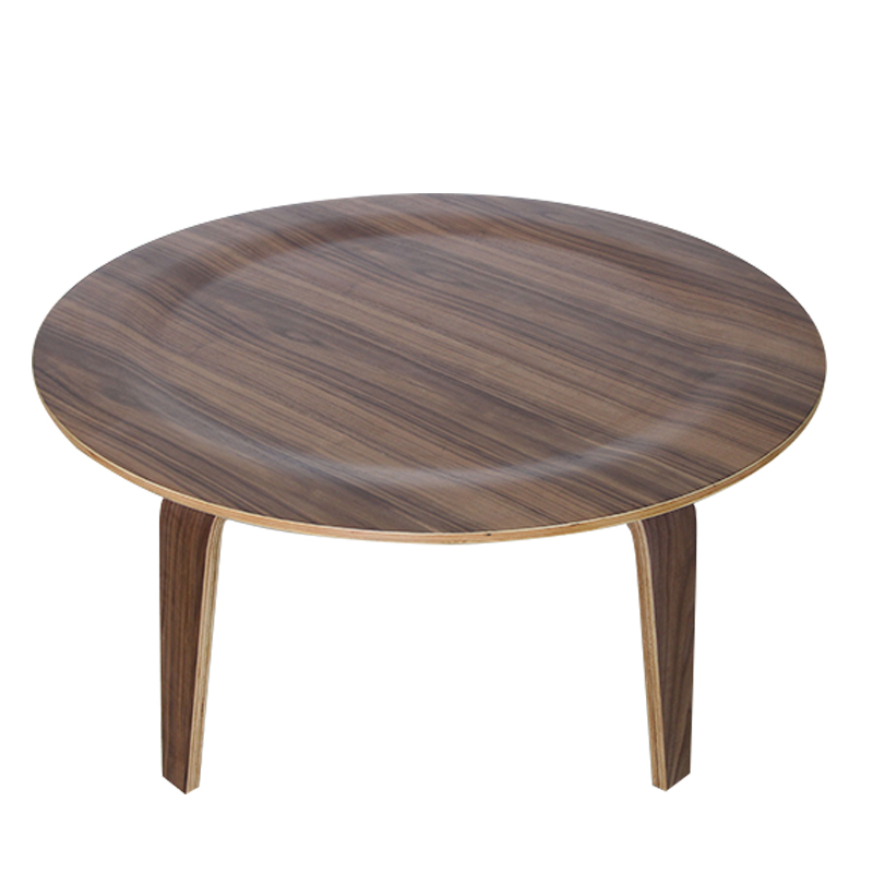 Ash Plywood Center Coffee Round Table In Natural Walnut