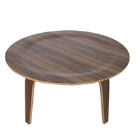 Ash Plywood Center Coffee Round Table In Natural Walnut Finish Living Room Furniture Tea Table Wooden