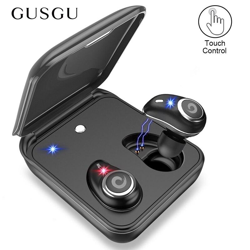 GUSGU TWS auricular Bluetooth inalámbrico auriculares V5.0 en la oreja del deporte auriculares con banco de potencia y micrófono manos libres