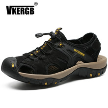 VKERGB 2018 Fashion Quality Genuine Leather Men Roman Sandals Summer Style Male Sandals Shoes Black Casual Shoes High Quality(China)