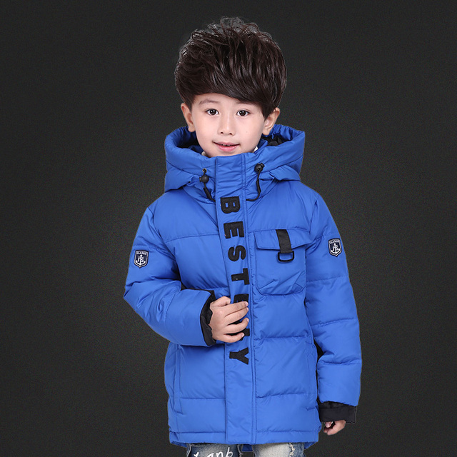 New 2016 Children's Down Jacket Long Thick Warm Boy Winter Coat White Duck Down Kids Winter Jackets for Boy Outerwear DQ160