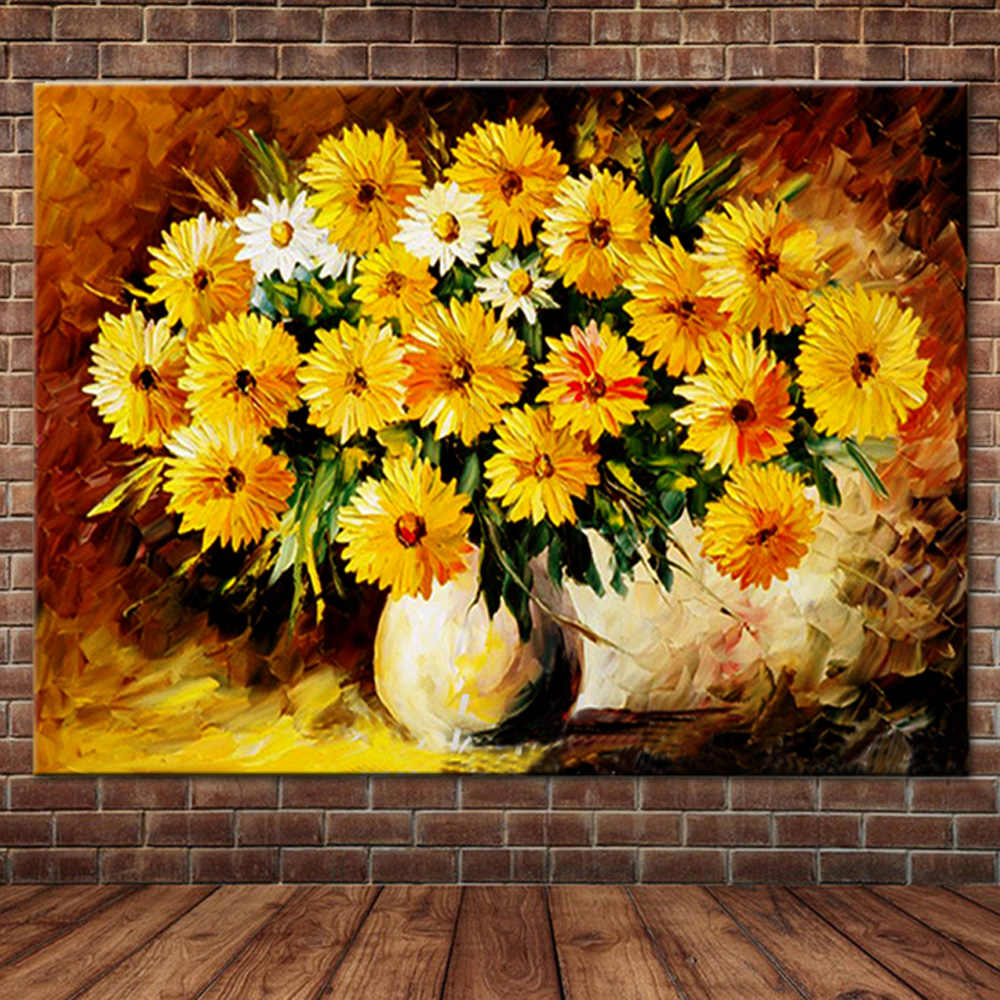 Ручная роспись Цветущий желтый цветок ромашка масла Картины на холсте