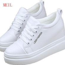 Fashion White Black Wedge Sneakers Women Casual Shoes High Heels Ladies Trainers Flat Platform Female