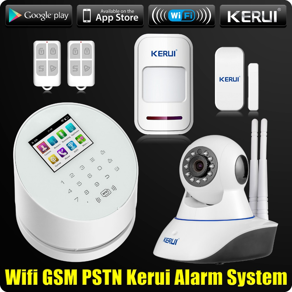 KERUI W2 WiFi GSM PSTN Home Office Security Alarm System Android IOS APP Remote Control with Dual Antenna Wifi CCTV Camera kerui w2 wifi gsm home burglar security alarm system ios android app control used with ip camera pir detector door sensor
