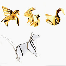 Accessories wholesale solid geometry of animal rabbit kitten papercranes brooch