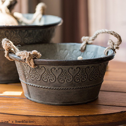 American Countryside Vintage Style Round Galvanized Herb Planter with Hemp Rope Handle