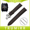 Faixa de relógio 22mm quick release para asus zenwatch 1 2 homens seixo tempo cinta butterfly fivela primeira camada de couro genuíno pulseira