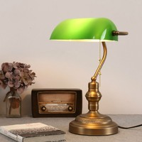 Classical vintage banker lamp table lamp E27 with switch Green glass lampshade cover desk lights for bedroom study home reading