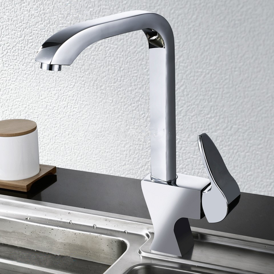 New Arrival Patent Design Brass Single Handle Stylish Swivel Kitchen Sink Faucet