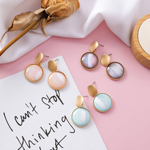 2019 Korean Sweet Abstract Texture Fashion Drop Round Dangle Earring Wedding Geometric Jewelry Wholesale Gift For Lover Friend