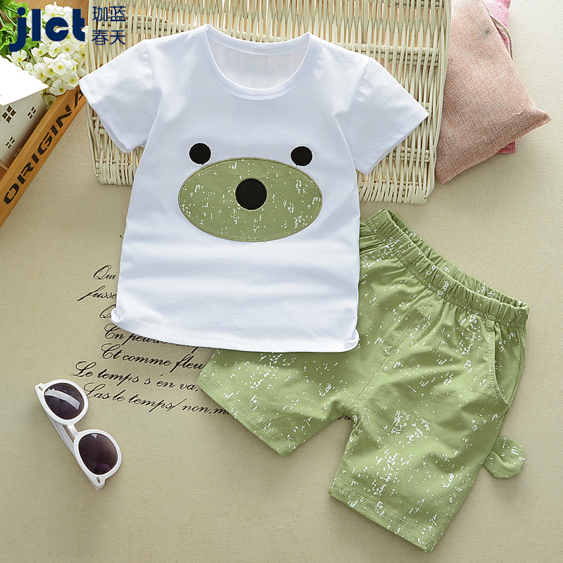 Kid Boy Sets Short Sleeve T-shirt + Shorts 2018 Summer Cotton Casual Cartoon Costume 2pcs Cute Boy Suits Children Clothes 5cs363