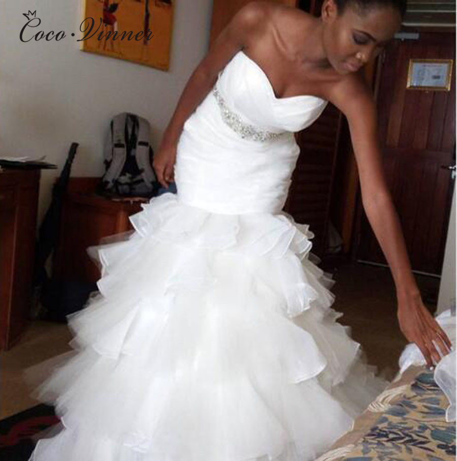 Detail Feedback Questions about African Pure White Mermaid Wedding Dress  2018 Pleat Tiered Ruffles Crystal Sash Plus Size Trumpet Wedding Dresses  W0404 on ... 75010d3ff863