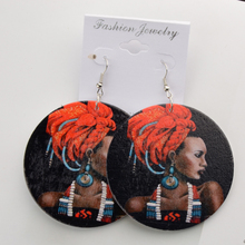 60cm Africa Map Wood Black African Queen Afro Earrings Vintage Bohemia Party Club Jewelry Printed Wooden DIY Accessories